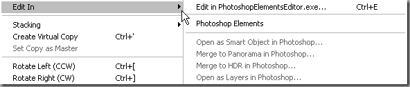 Standard Lightroom Photo Edit In Menu