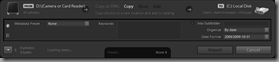 Lightroom 3 Beta's Compact Import dialog (Quick Settings mode)