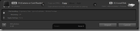 Lightroom 3 Beta's Compact Import dialog (Summary mode)