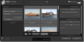 Lightroom 3 Beta's Expanded Import dialog (Add import type, with File Handling and Apply During Import panels visible)