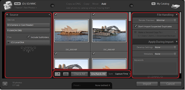 Lightroom 3 Beta's Expanded Import dialog (with annotations)