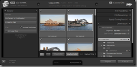 Lightroom 3 Beta's Expanded Import dialog (Copy as DNG import type, with Destination panel visible)