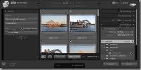 Lightroom 3 Beta's Expanded Import dialog (Copy import type, with Destination panel visible)
