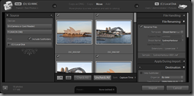 Lightroom 3 Beta's Expanded Import dialog (Move import type, with File Renaming panel visible)