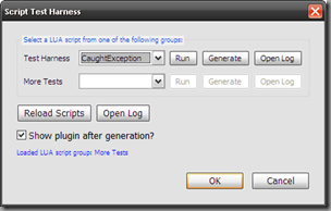 Plugin's Script Test Harness Dialog