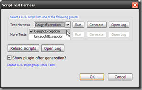 Script Test Harness Dialog's LUA script menu items