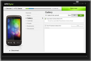 HTC Sync's Gallery synchronisation options