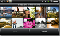 Android's Gallery application Sharing image selection