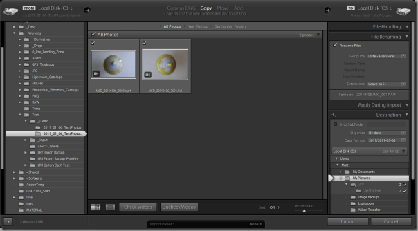 Lightroom 3 Import dialog