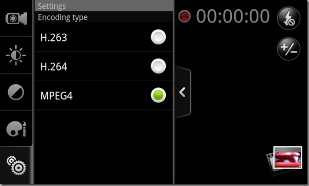 HTC Desire Camcorder application encoding types
