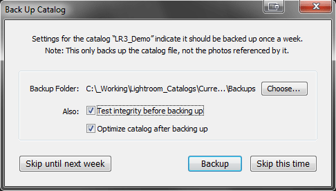 Lightroom's Backup Catalog Dialog