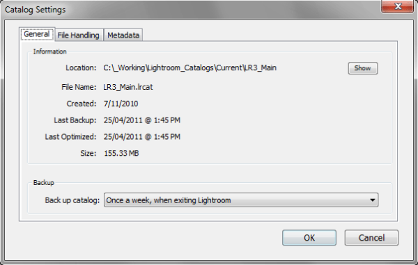 Lightroom Catalog Settings Dialog
