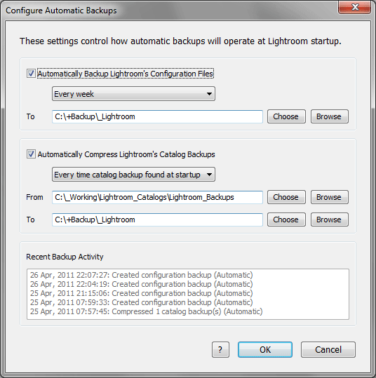 Plugin Configure Automatic Backups Dialog
