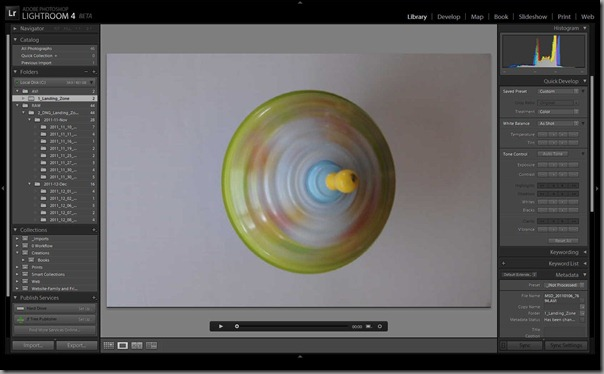 Library module's video Loupe view, with Quick Develop panel active