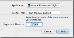 Add Application Shortcut dialog for Mac OS X