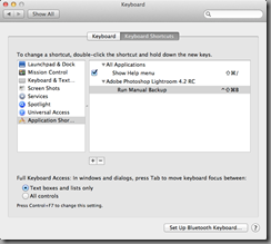Application Shortcuts within Mac OS X Keyboard System Preferences