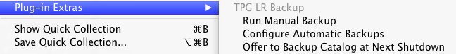 TPG LR Backup plugin menu options